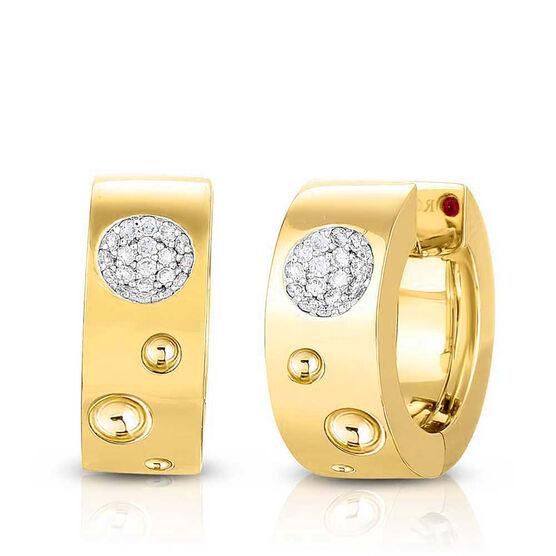 Roberto Coin Pois Moi Luna Small Diamond Hoop Earrings 18K