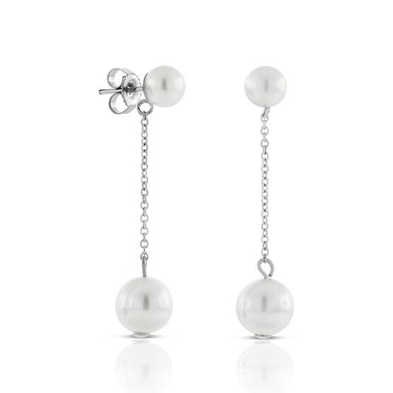 Cultured Freshwater Pearl Dangle Earrings 14K