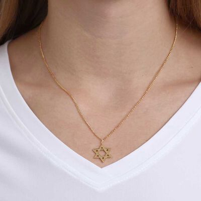 Star of David Necklace 14K