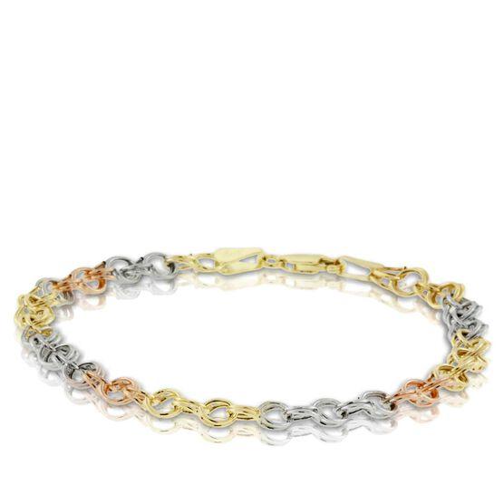 Tri-Color Link Bracelet 14K