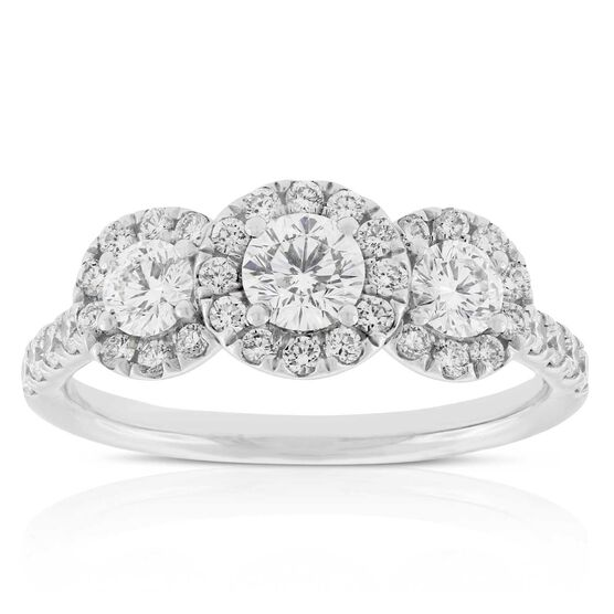 Signature Forevermark 3-Stone Diamond Halo Ring 18K