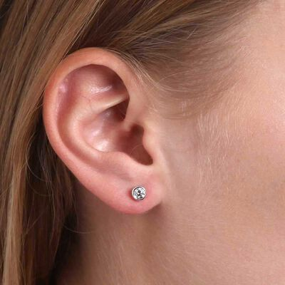 Bezel Set Diamond Stud Earrings 14K, 1/2 ctw.
