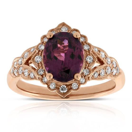Rose Gold Purple Garnet & Diamond Ring 14K