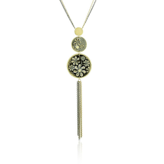 Toscano Floral Discs with Tassel Necklace 14K