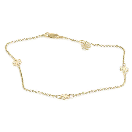 Four Flower Station Anklet 14K