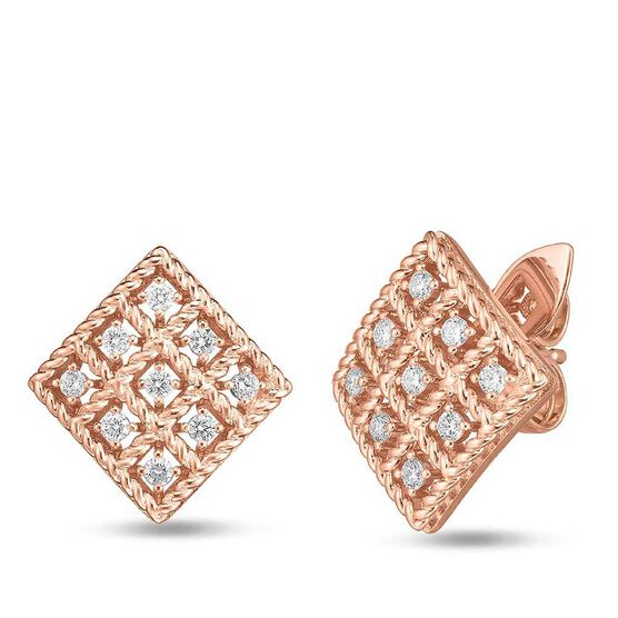 Rose Gold Roberto Coin Byzantine Barocco Diamond Square-Shaped Earrings 18K