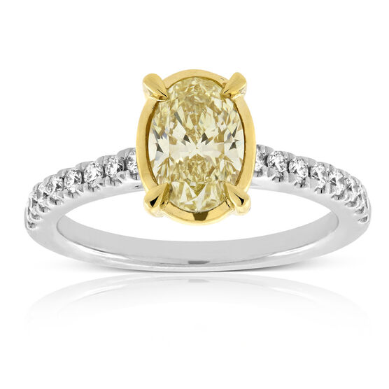 Yellow & White Diamond Engagement / Fashion Ring 18K