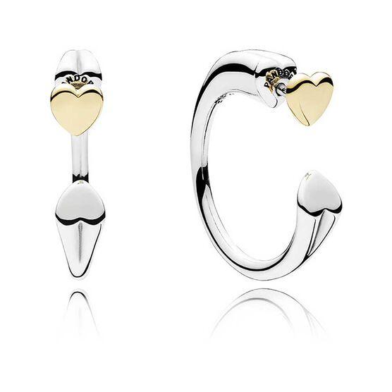 PANDORA Two Hearts Hoop Earrings, Silver & 14K