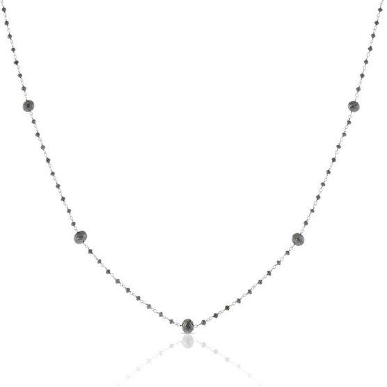 Black Diamond Bead Station Necklace 14K