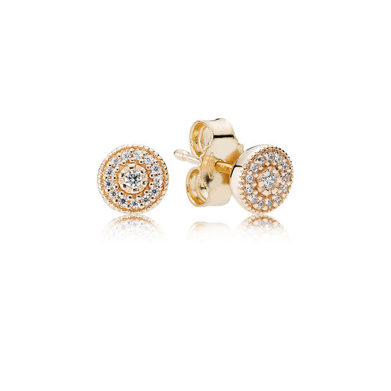 PANDORA Clear Radiant Hearts Earrings 14K