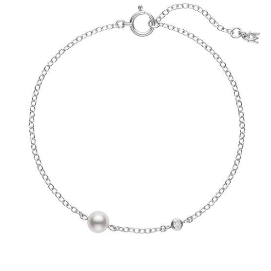 Mikimoto Akoya Cultured Pearl & Diamond Station Bracelet 18K