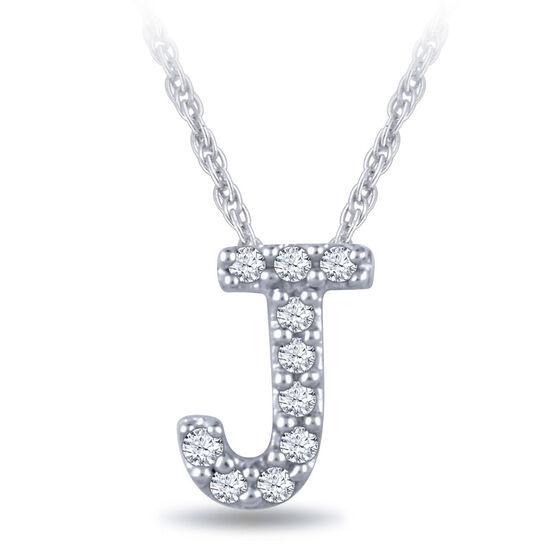Diamond Initial Pendant 14K Letter 'J'