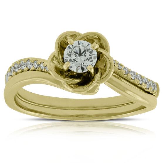 Diamond Flower Wedding Set 14K