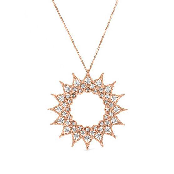 Rose Gold Roberto Coin Roman Barocco Sunburst Diamond Necklace 18K