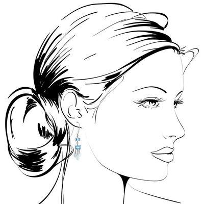Blue & White Topaz Earrings 14K