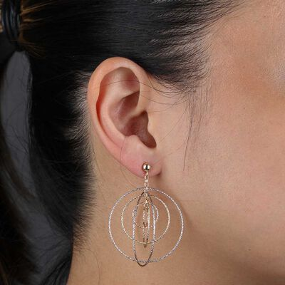 Toscano Tri-Color Circle Earrings 14K