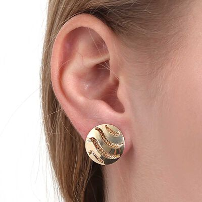 Toscano Dome Circle Wave Earrings 14K