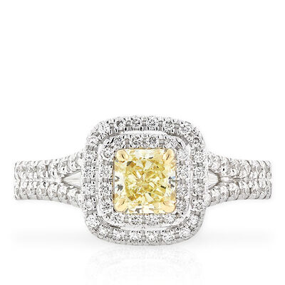 Radiant Cut Yellow Diamond Halo Ring .60 Ct. Center, 18K