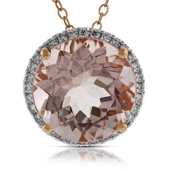 Rose Gold Morganite & Diamond Pendant 14K
