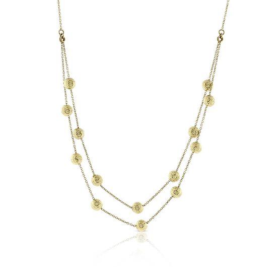 Double Row Diamond Cut Beaded Chain 14K
