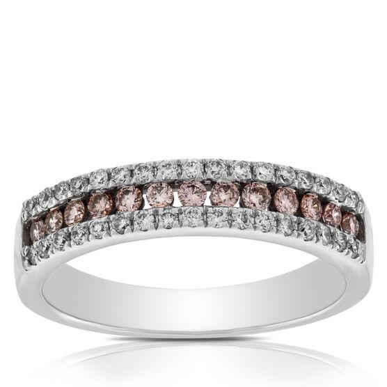 Pink & White Diamond Band 14K