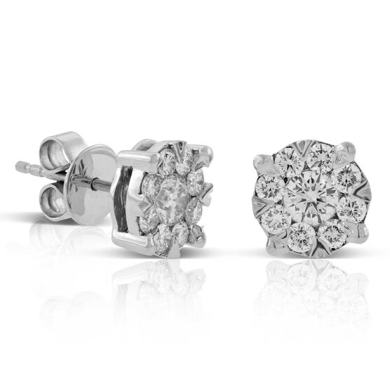 Cluster Diamond Earrings 14K, 1 ctw.