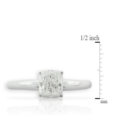 Cushion Cut Diamond Solitaire Ring 14K, 1 ct.
