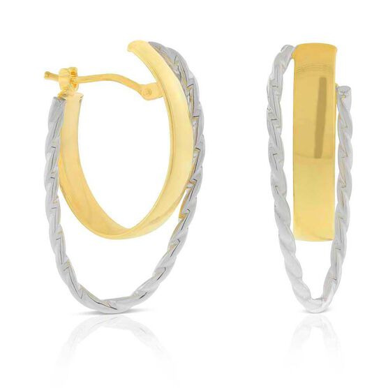 Two-Tone Crossover Hoop Earrings 14K
