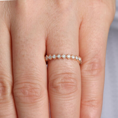 Rose Gold Stacking Diamond Band 14K