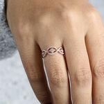 Rose Gold Diamond Wave Ring 14K