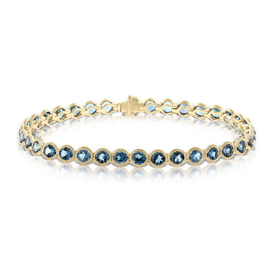 London Blue Topaz Tennis Bracelet 14K