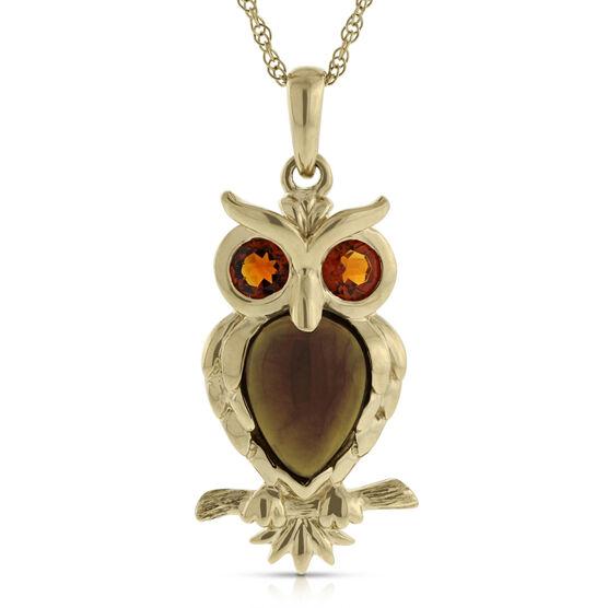 Gemstone Owl Pendant 14K