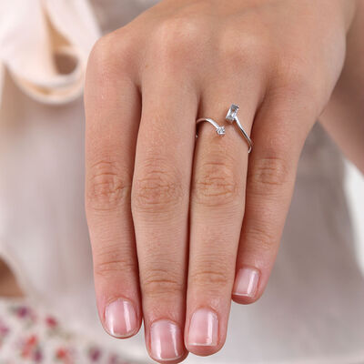 Baguette & Round Diamond Open Bypass Ring 14K