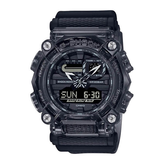 G-Shock Transparent Gray Resin Analog Digital Watch, 50mm
