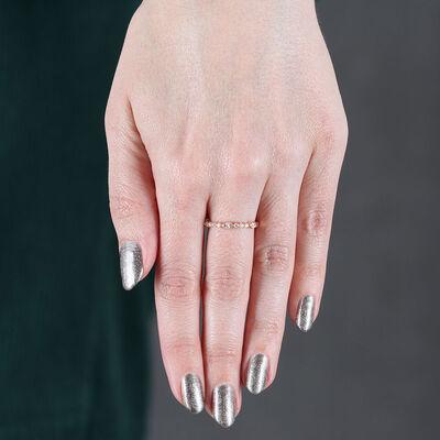 Rose Gold Marquise & Round Cut Diamond Band 14K