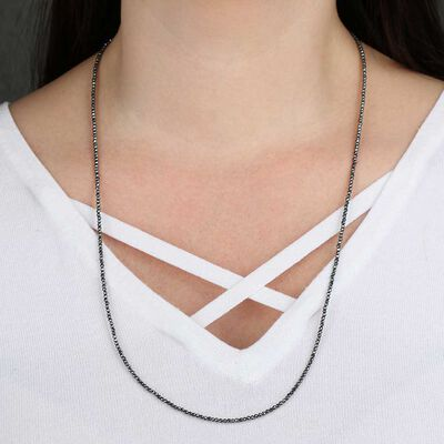 "Lisa Bridge Faceted Hematite Bead Necklace, 28"""