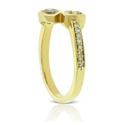 Brown & White Diamond Bypass Ring 14K