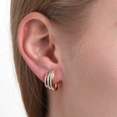 Toscano 3-Tone Hoop Earrings 14K