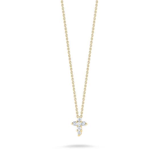 Roberto Coin Tiny Treasures Diamond Baby Cross Necklace 18K