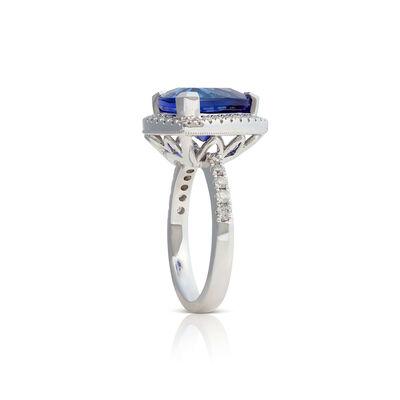Trillion Tanzanite & Diamond Halo Ring 14K