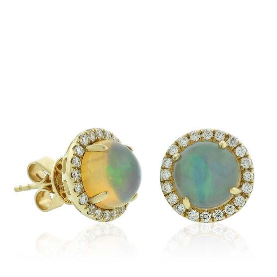 Opal & Diamond Stud Earrings 14K