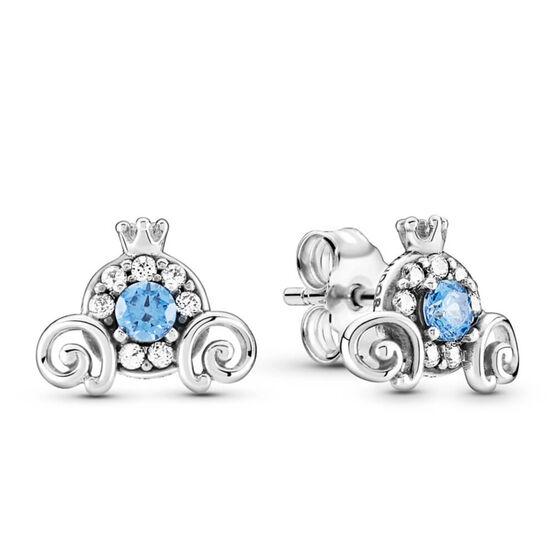 Pandora Disney Cinderella Pumpkin Coach Crystal & CZ Stud Earrings