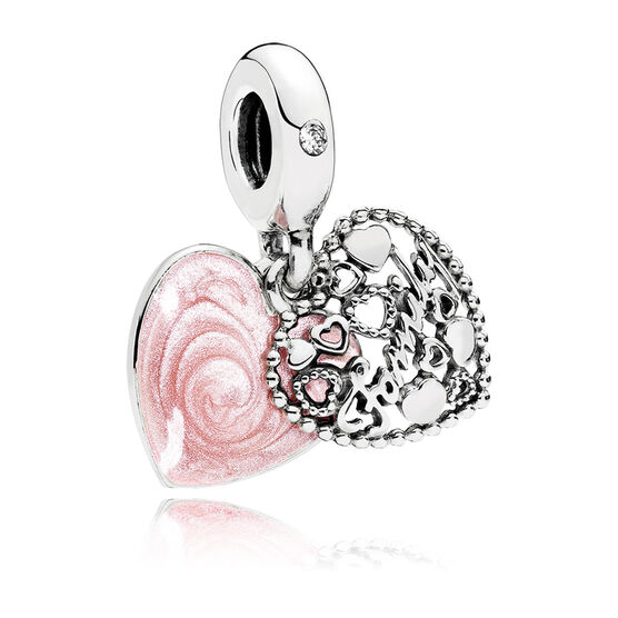 Pandora Love Makes A Family Enamel & CZ Dangle Charm
