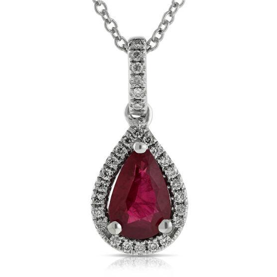 Halo Ruby & Diamond Pendant 14K