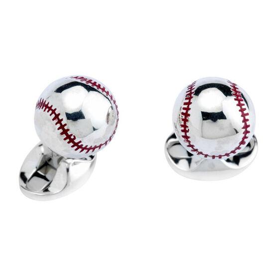 Deakin & Francis Baseball Cufflinks in Sterling Silver