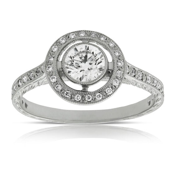 Bezel Set Halo Diamond Engagement Ring 14K