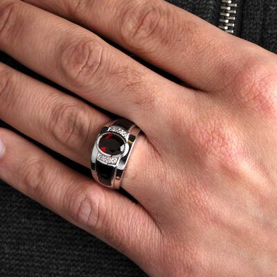Garnet, Onyx & Diamond Men's Ring 14K