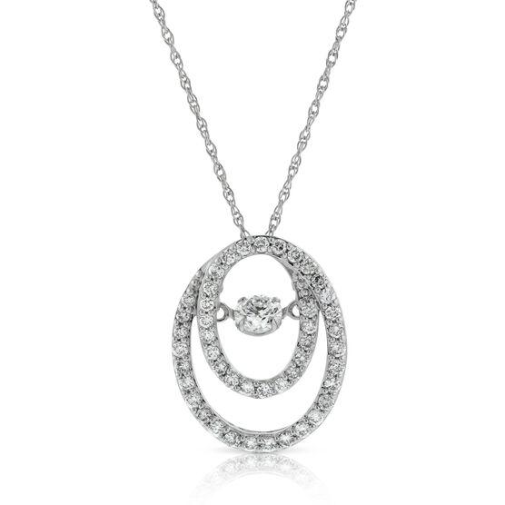 Love's Pulse Double Oval Diamond Pendant 14K