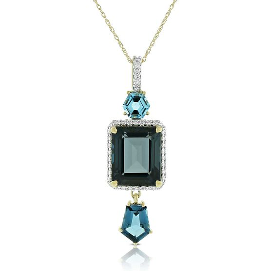 Geometric Blue Topaz & Diamond Pendant 14K