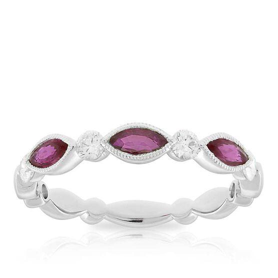Marquise Ruby & Diamond Ring 14K